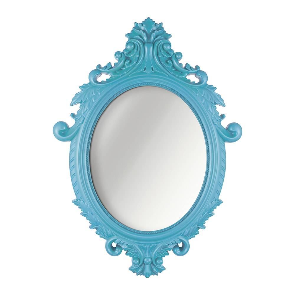 Espelho Oval Rococo Turquesa em Polipropileno - 72x52 cm