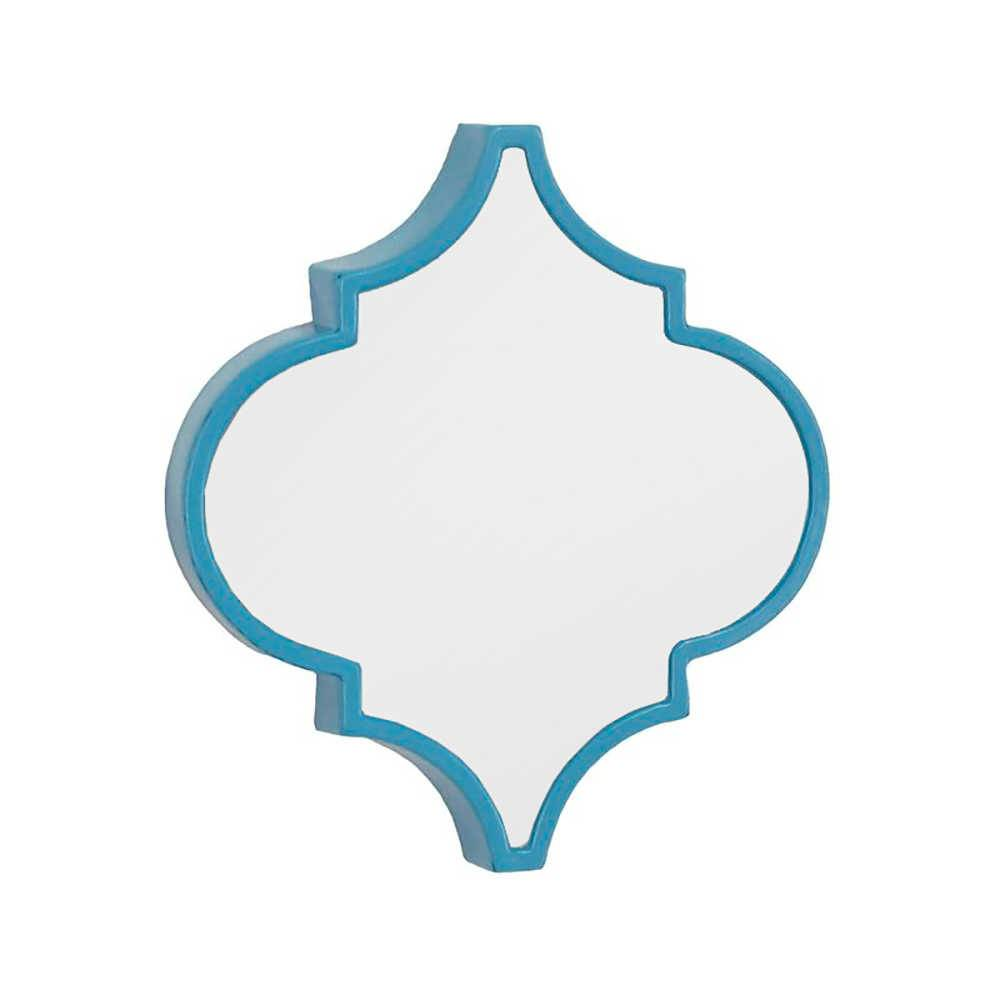Espelho de Parede Mosaico Azul com Moldura de Ferro - 36,2x32,5 cm
