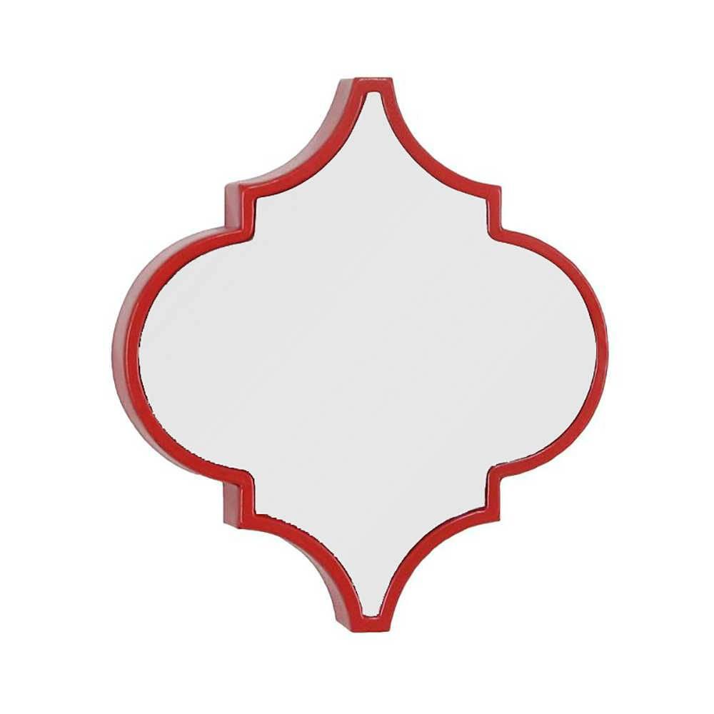 Espelho de Parede Mosaico Vermelho com Moldura de Ferro - 36,2x32,5 cm