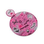 Espelho Pink Para Bolsa com Capinha de Couro - 7x6 cm