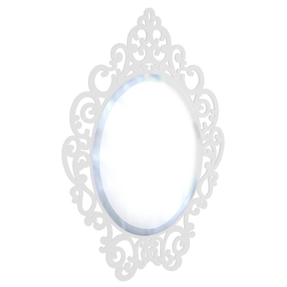 Espelho Provençal Branco em MDF Laqueado - Grande - 93,3x67 cm