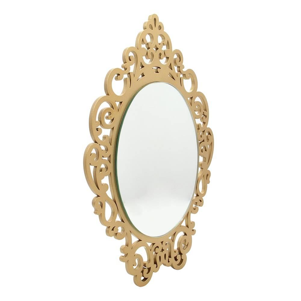 Espelho Provençal Dourado em MDF Laqueado - Médio - 70x47,8 cm