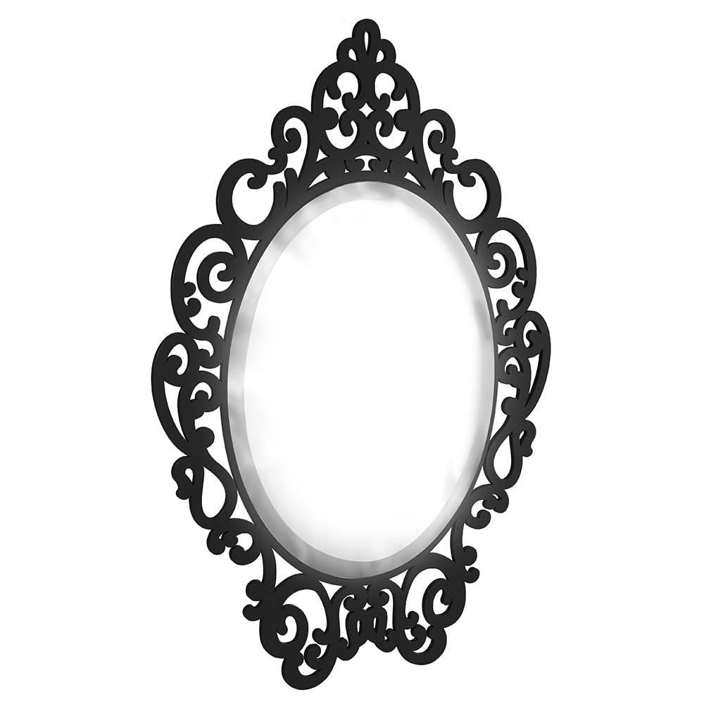 Espelho Provençal Preto em MDF Laqueado - Médio - 70x47,8 cm