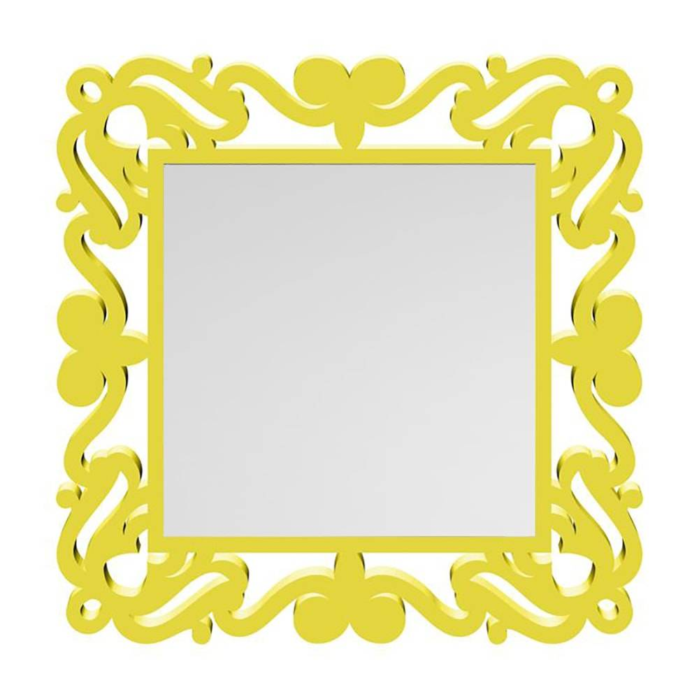 Espelho Provençal Quadrado em MDF Laqueado Amarelo - 80x80 cm