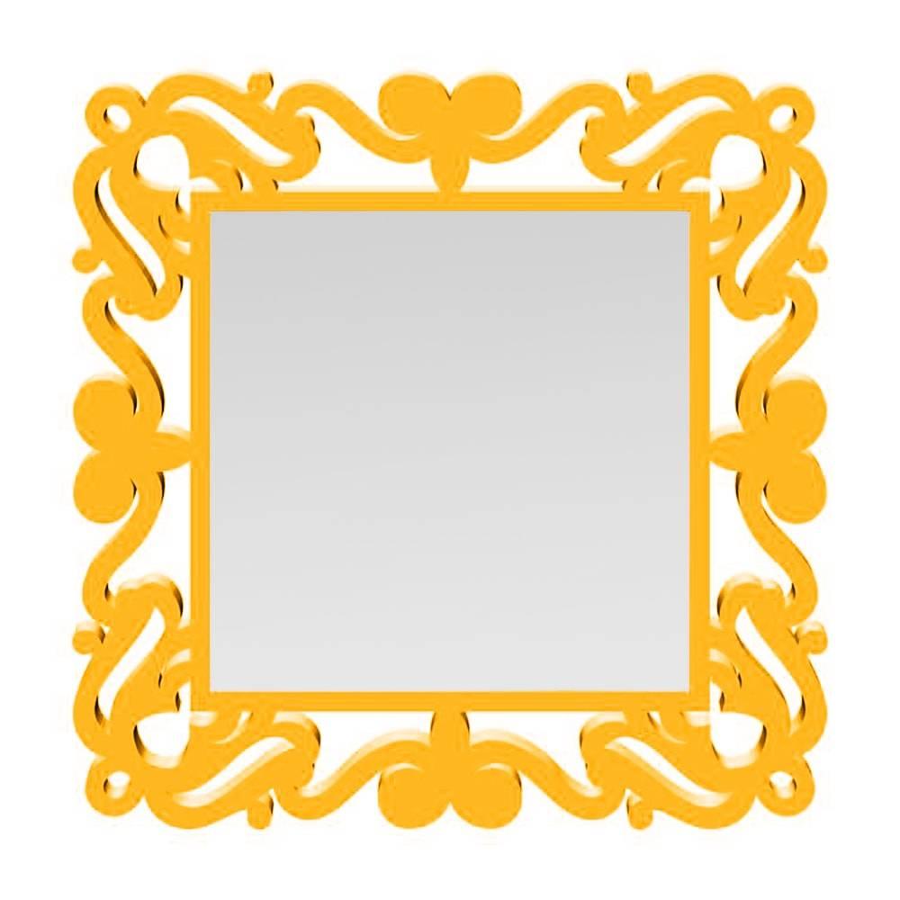 Espelho Provençal Quadrado em MDF Laqueado Dourado - 80x80 cm