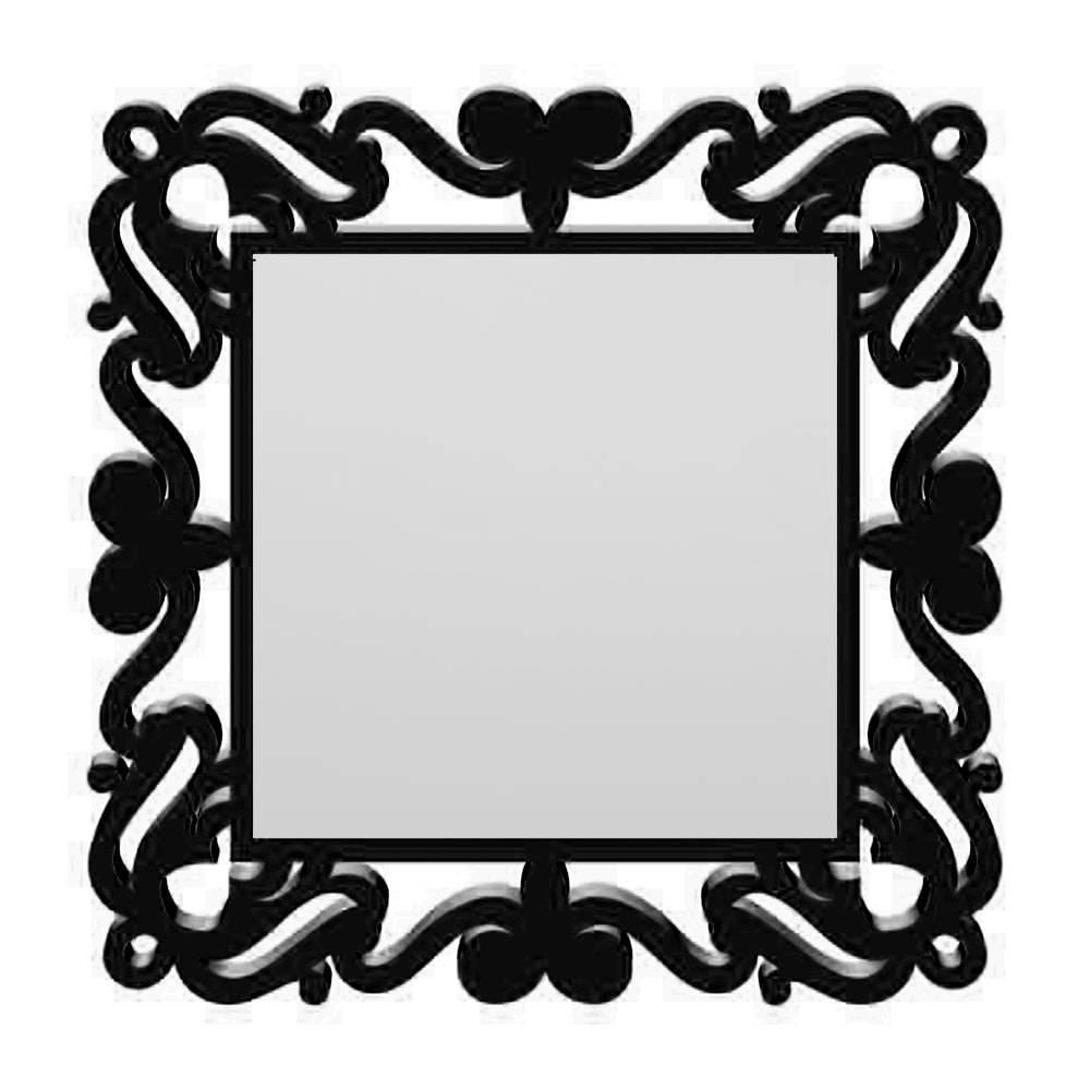 Espelho Provençal Quadrado em MDF Laqueado Preto - 80x80 cm