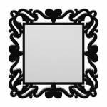 Espelho Provençal Quadrado em MDF Laqueado Preto