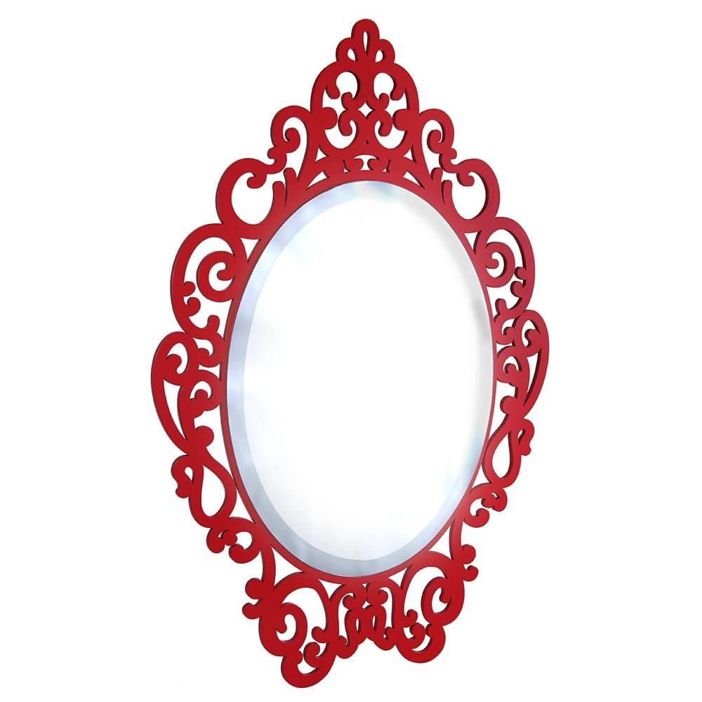 Espelho Provençal Vermelho em MDF Laqueado - Pequeno - 40x26 cm