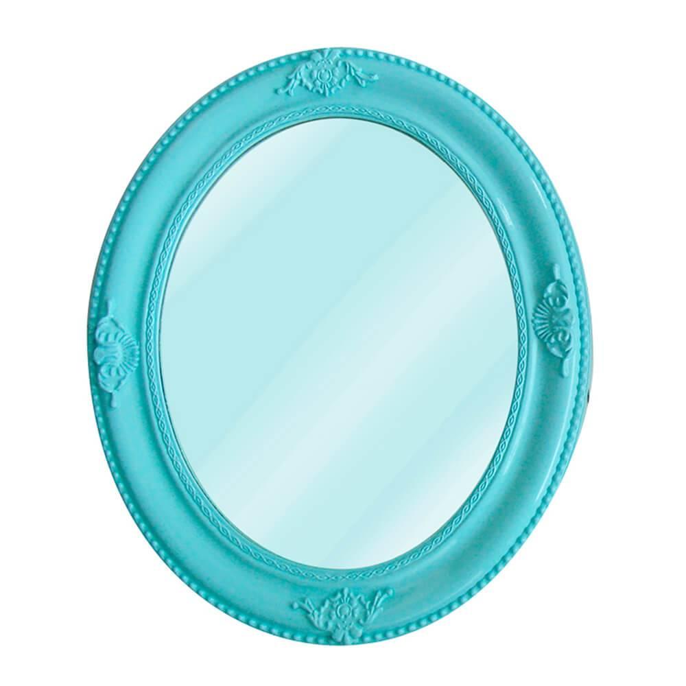 Espelho Queen Bistrot Redondo Azul em MDF- Urban - 64x54 cm