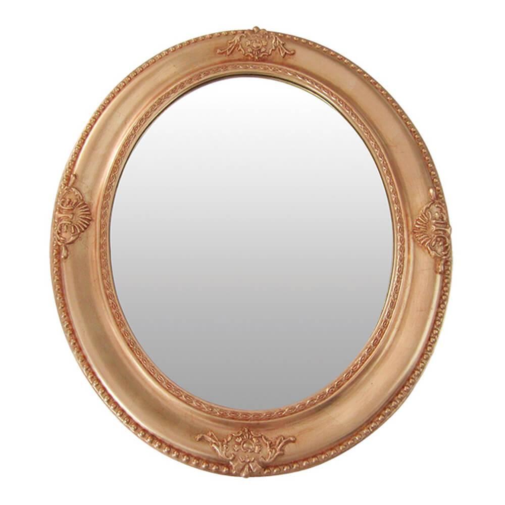 Espelho Queen Bistrot Redondo Dourado em MDF- Urban - 64x54 cm