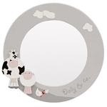 Espelho Redondo Animals Cinza/Branco
