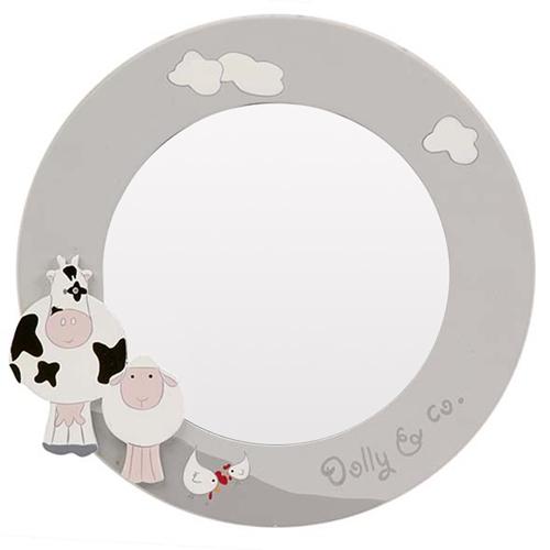 Espelho Redondo Animals Cinza/Branco - 30x1 cm