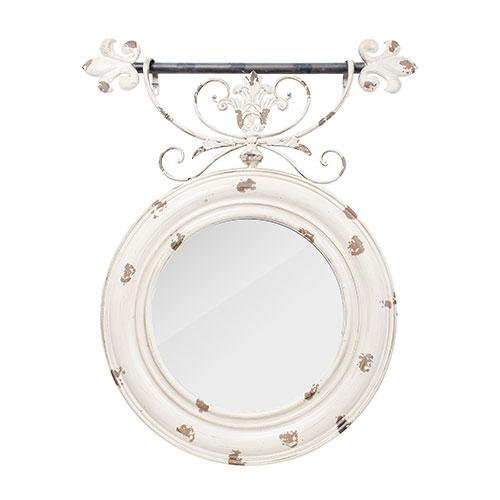 Espelho Redondo com Arabescos Bege Envelhecido Oldway - 90x76 cm