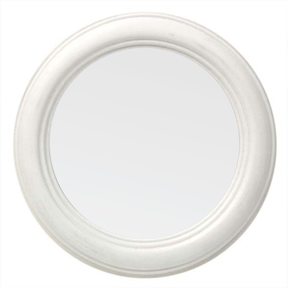 Espelho Redondo Branco Pequeno com Moldura em Madeira - 23x3 cm