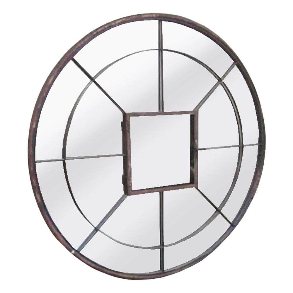 Espelho Redondo com Moldura em Ferro - 107x107 cm