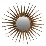 Espelho Redondo Sol Grande Moldura em Metal