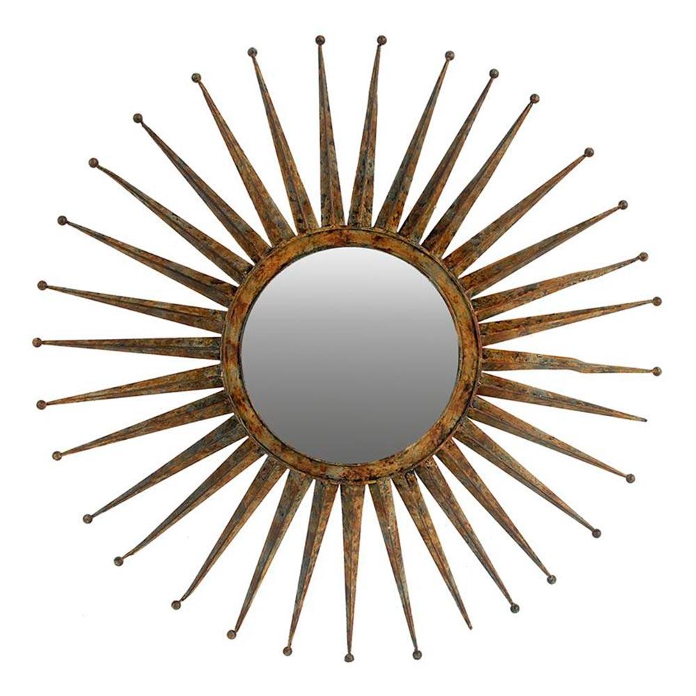 Espelho Redondo Sol Grande Moldura em Metal - 116x116 cm
