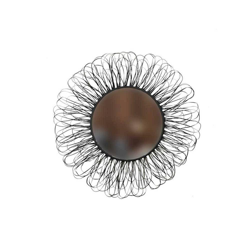 Espelho Redondo Sol Preto com Moldura em Metal - 94 cm