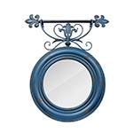 Espelho Redondo Trabalhado Azul Velho Oldway - 90x76 cm