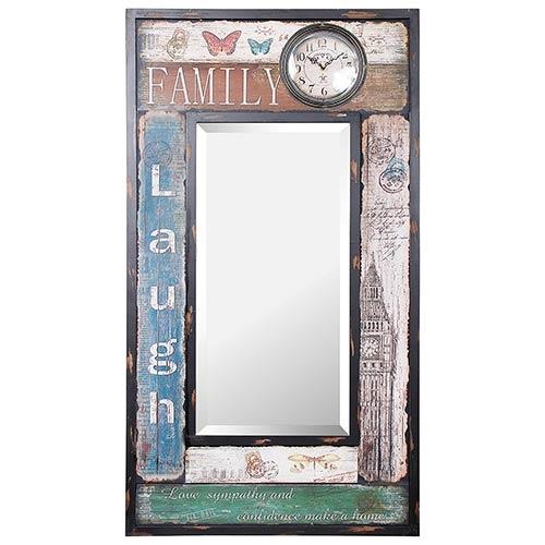 Espelho com Relógio Família Laugh Oldway - 112x60x5 cm