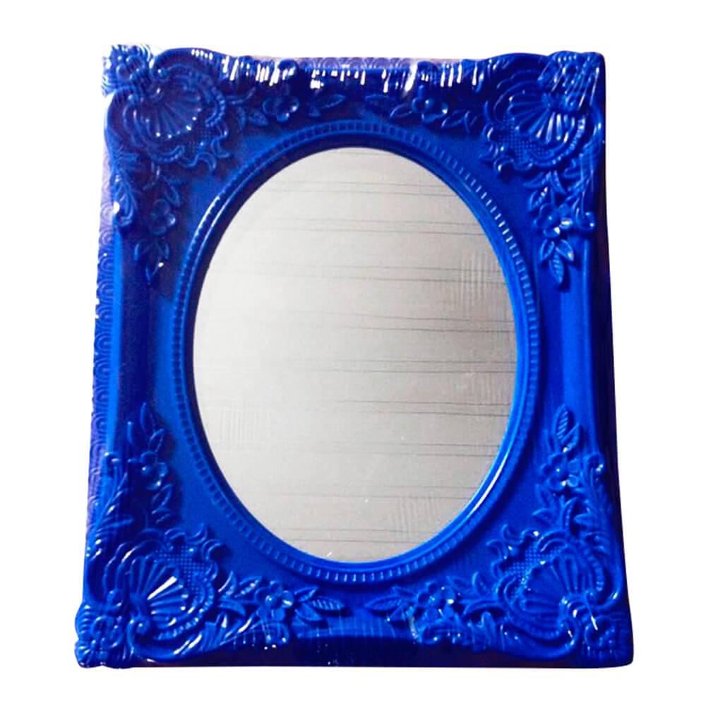 Espelho Retangular com Vidro Oval Indigo My Castle Azul - Urban - 31x26 cm