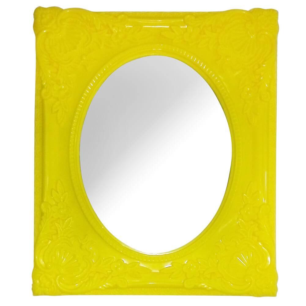 Espelho Retangular com Vidro Oval My Castle Amarelo - Urban - 32x26,5 cm