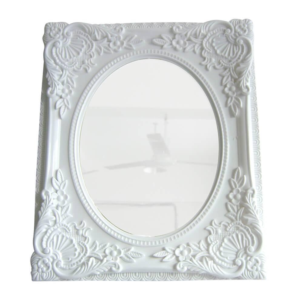 Espelho Retangular com Vidro Oval My Castle Branco - Urban - 31,5x26,5 cm