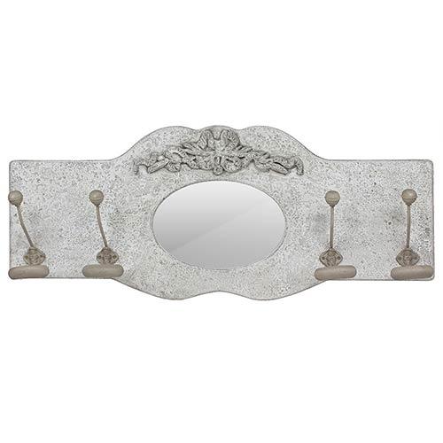 Espelho Trabalhado 4 Ganchos Branco Provence Oldway - 38x92cm