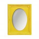 Espelho Vitalle Oval com Moldura Retangular Amarelo
