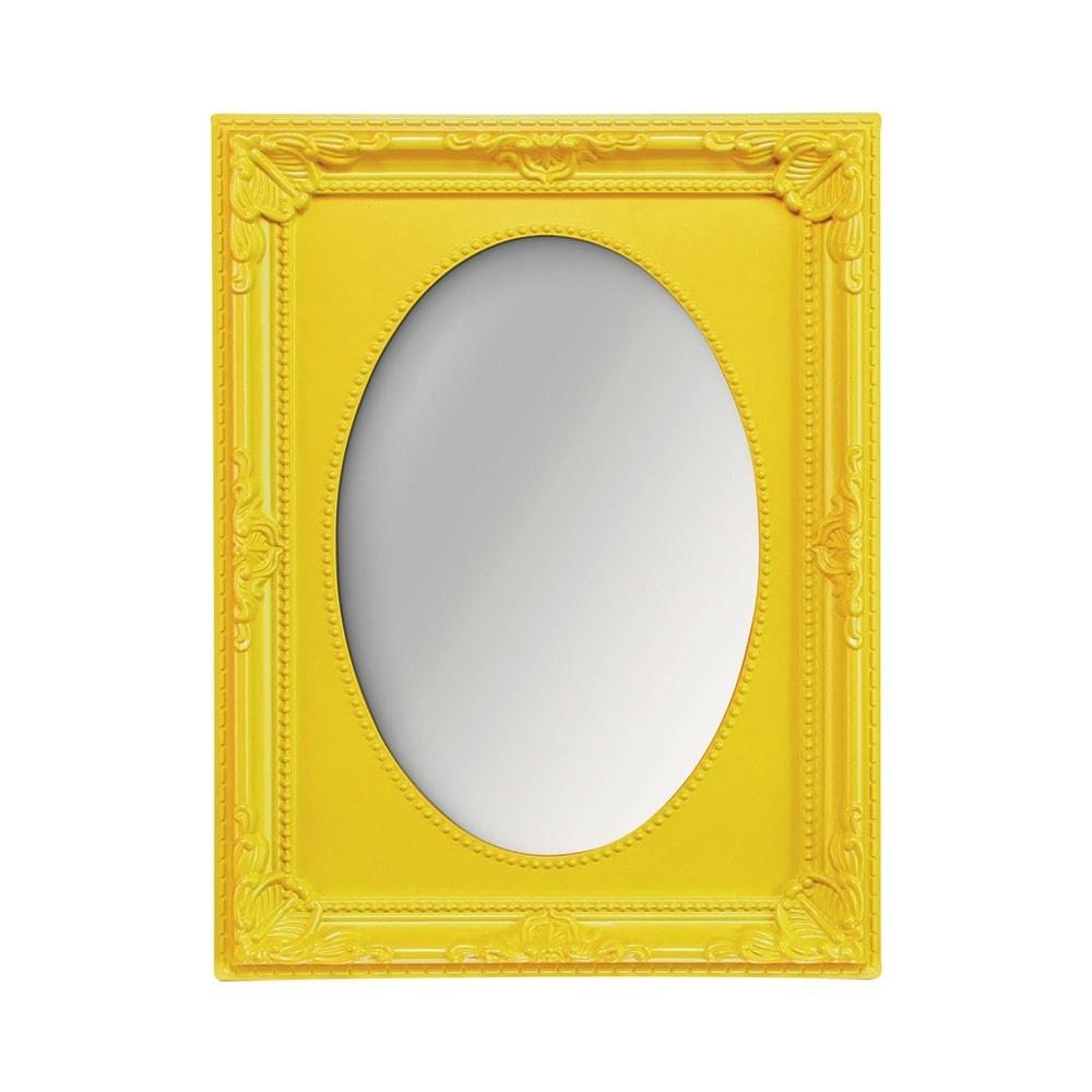 Espelho Vitalle Oval com Moldura Retangular Amarelo - 23x17,5 cm