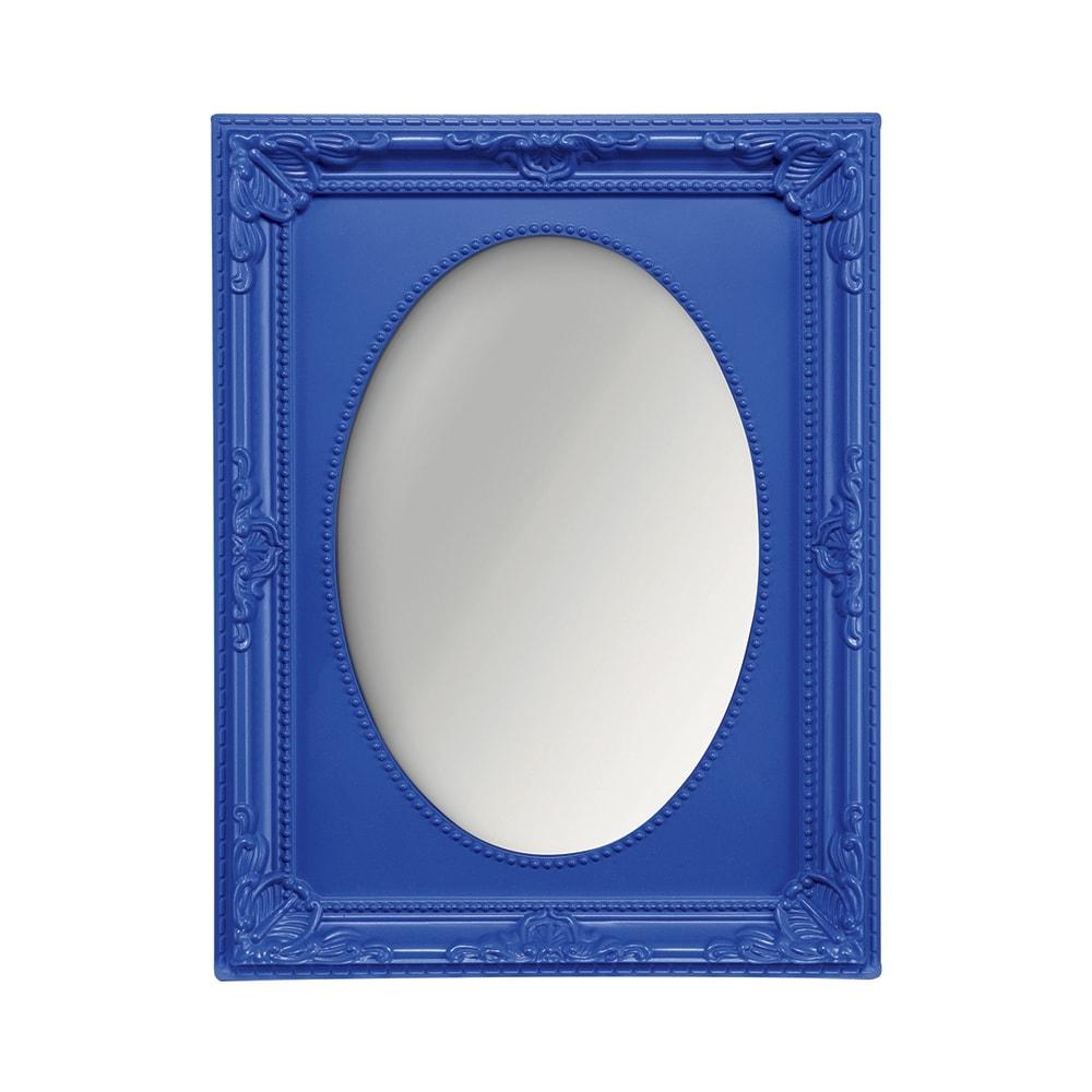Espelho Vitalle Oval com Moldura Retangular Azul Médio - 23x17,5 cm