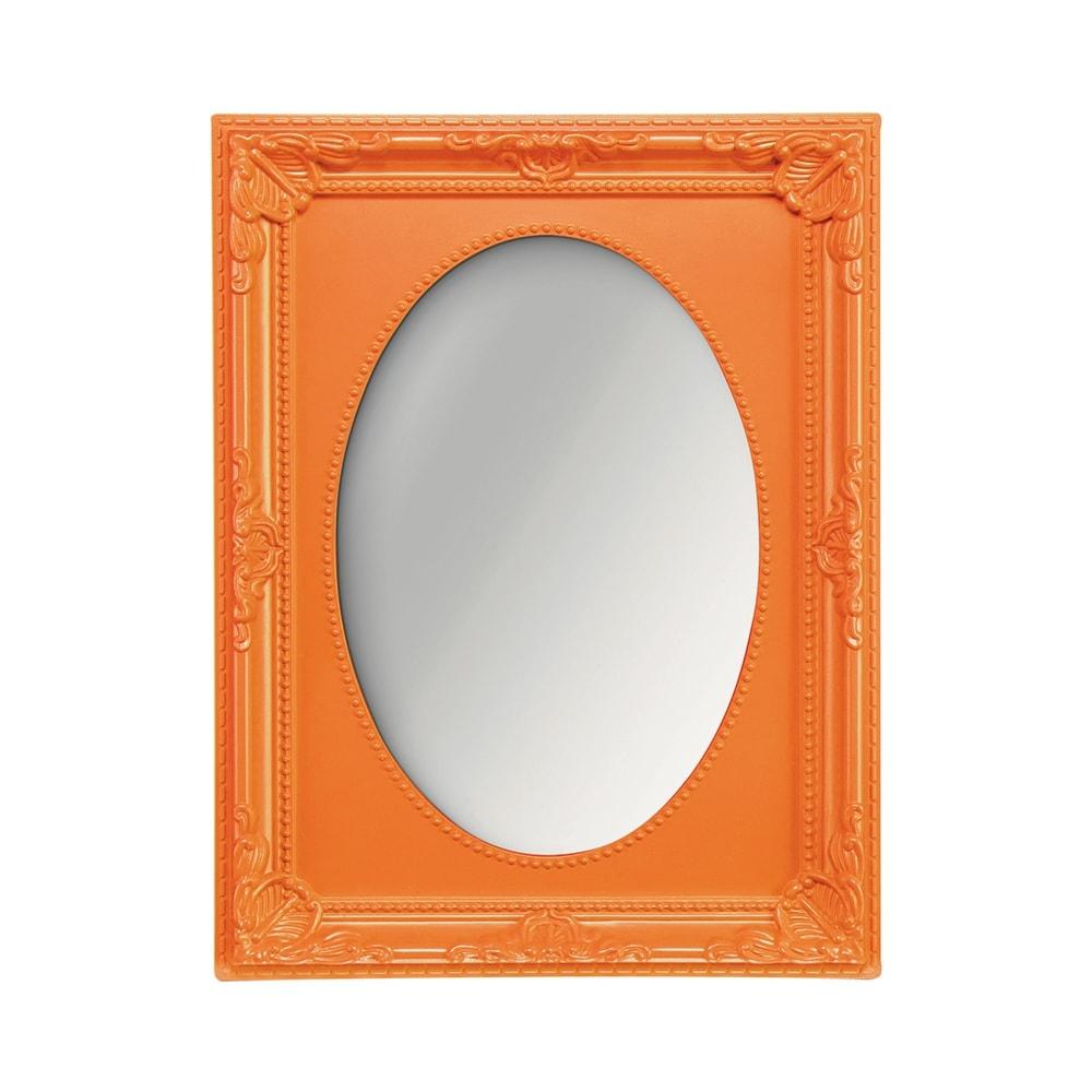 Espelho Vitalle Oval com Moldura Retangular Laranja - 19x14,5 cm