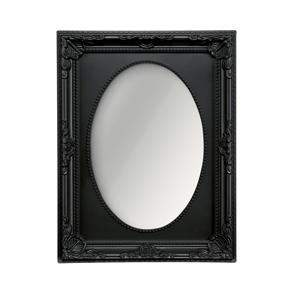 Espelho Vitalle Oval com Moldura Retangular Preto - 28x23 cm
