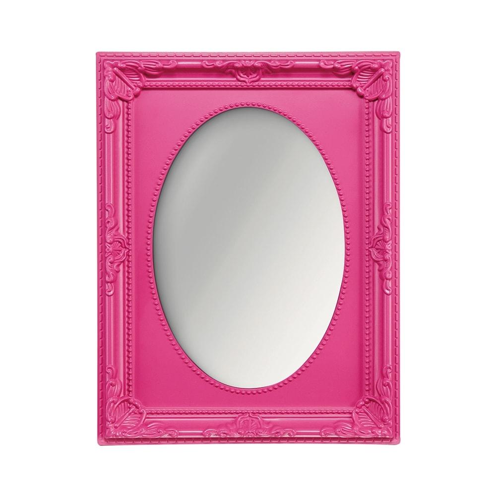 Espelho Vitalle Oval com Moldura Retangular Rosa - 23x17,5 cm