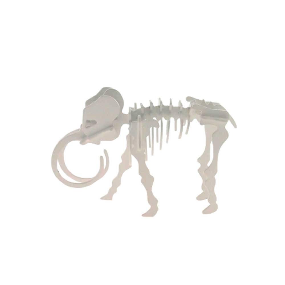 Esqueleto de Elefante Decorativo 3D Branco em Metal - 20x13 cm