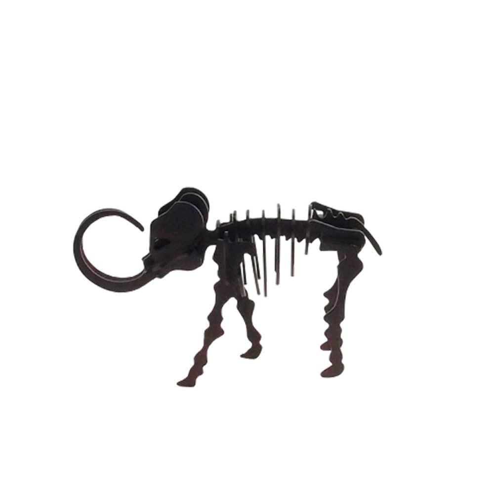 Esqueleto de Elefante Decorativo 3D Preto Fosco em Metal - 20x13 cm