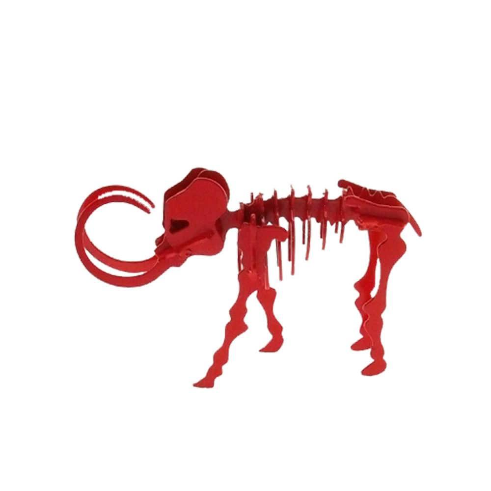 Esqueleto de Elefante Decorativo 3D Vermelho em Metal - 20x13 cm