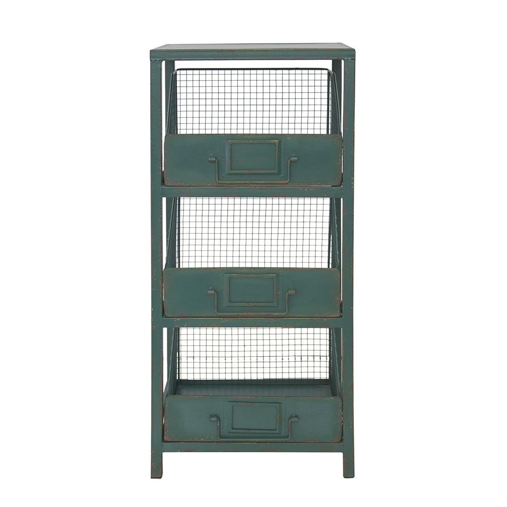Estante Drawers Verde Pátina - 3 Divisões - em Ferro - 83x36 cm