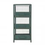 Estante Drawers Verde Pátina 3 Divisões em Ferro - 83x36 cm