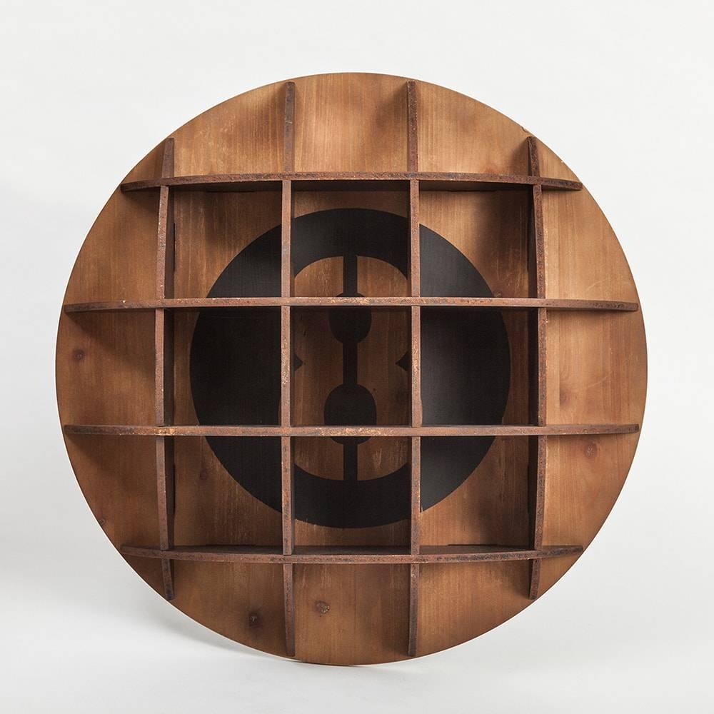 Estante de Parede Bilhar Bola 8 em Madeira - 70x70 cm