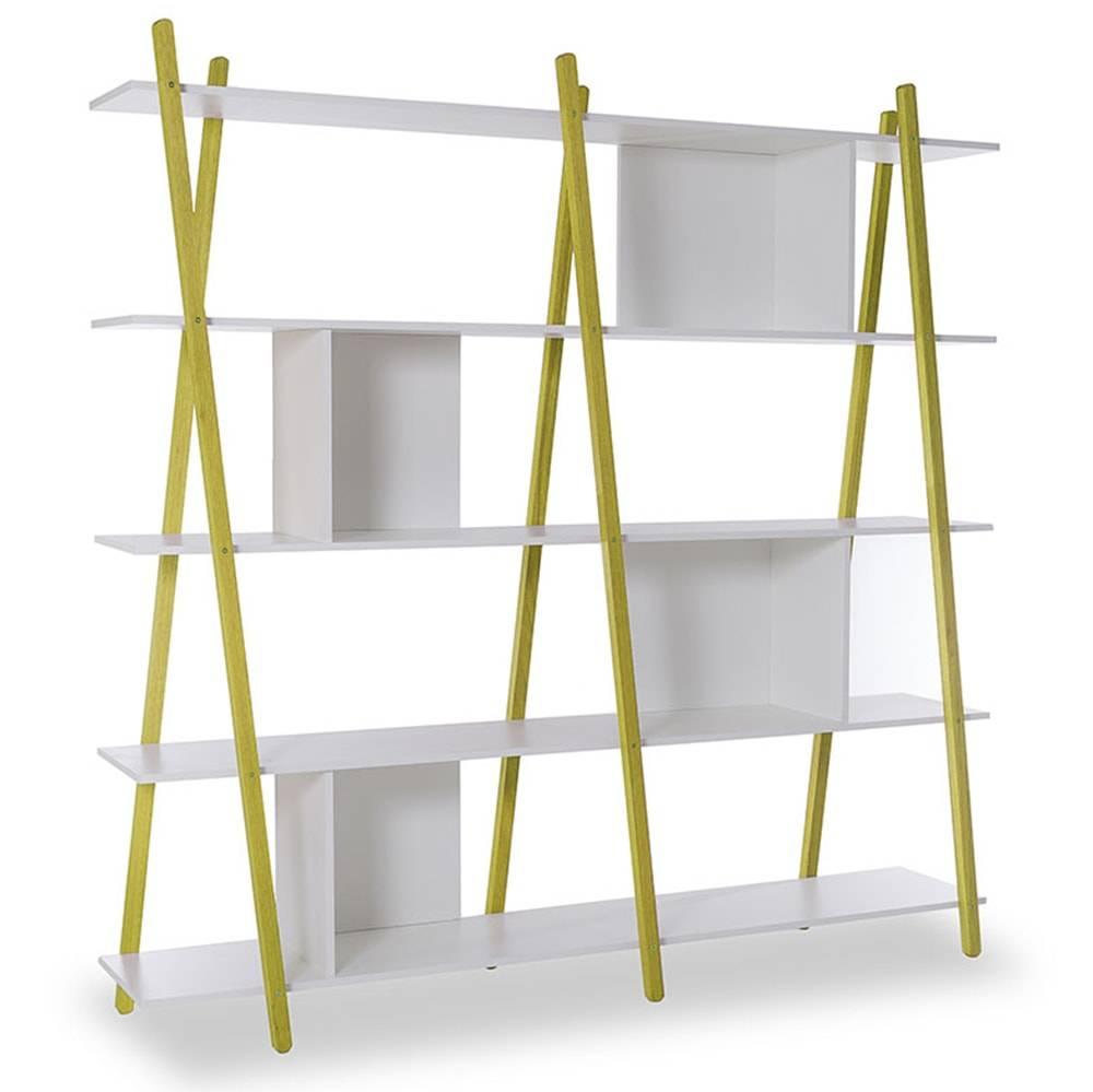 Estante Sue com 5 Prateleiras em MDF Branco / Amarelo - 180x179 cm