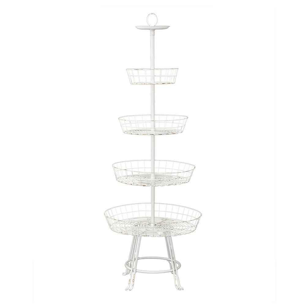 Estante Torre - 4 Divisões - Branco Pátina  em Ferro - 157x56 cm