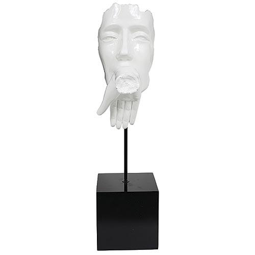 Estatua Branca Beijo na Mão Fullway - 71x26 cm