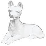 Estatua Branca Cachorro Deitado Fullway