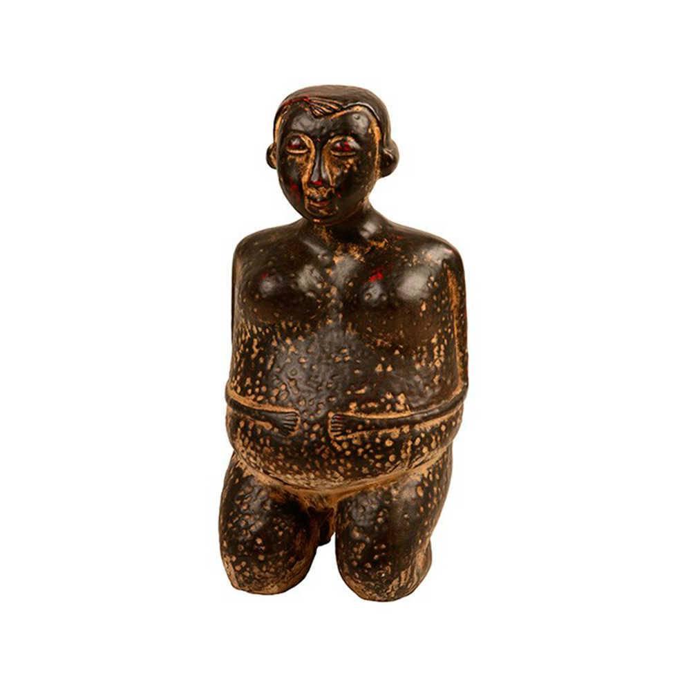 Estátua Buddha com Efeito Desgastado em Resina - 30x15 cm