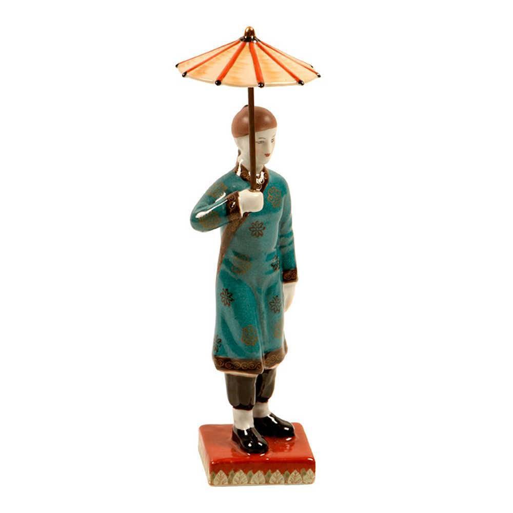 Estátua Chinês com Roupa Azul em Porcelana - 31x7 cm