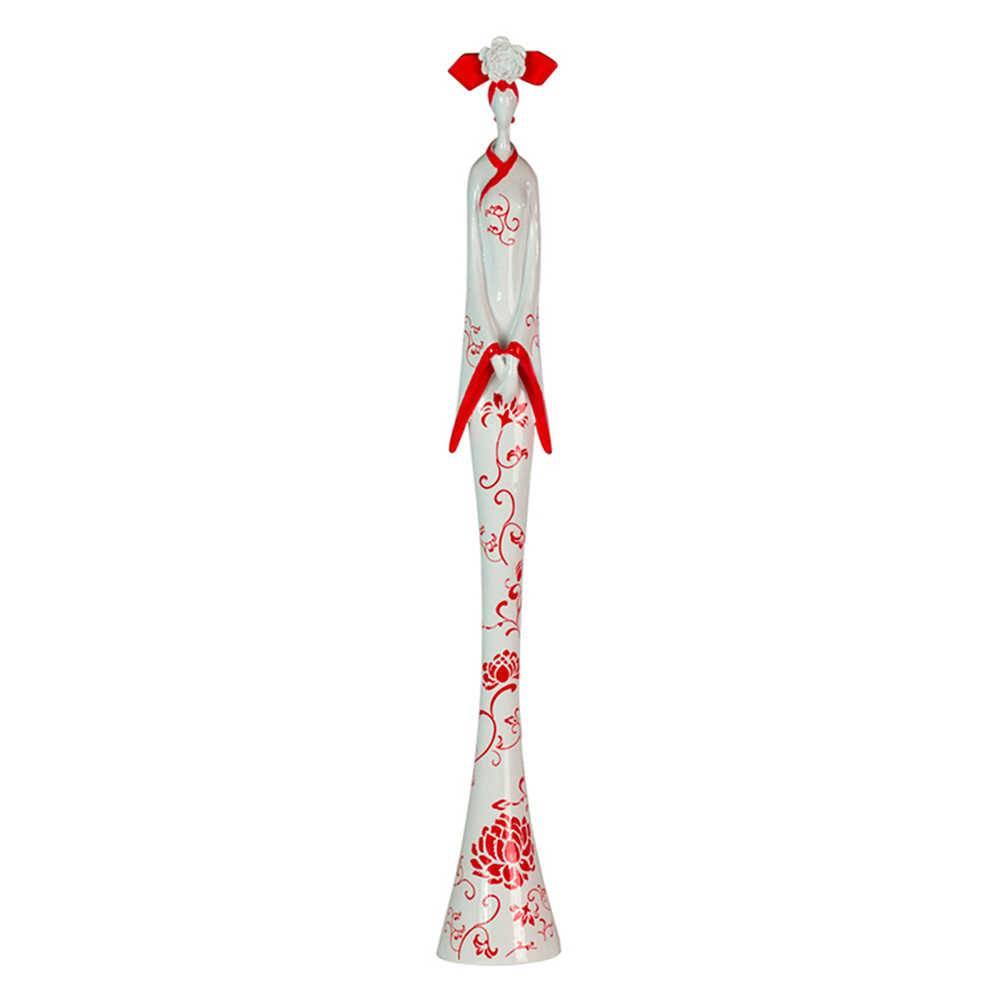 Estátua Chinese Gueixa Vermelha e Branca Média em Resina - Urban - 50x7 cm