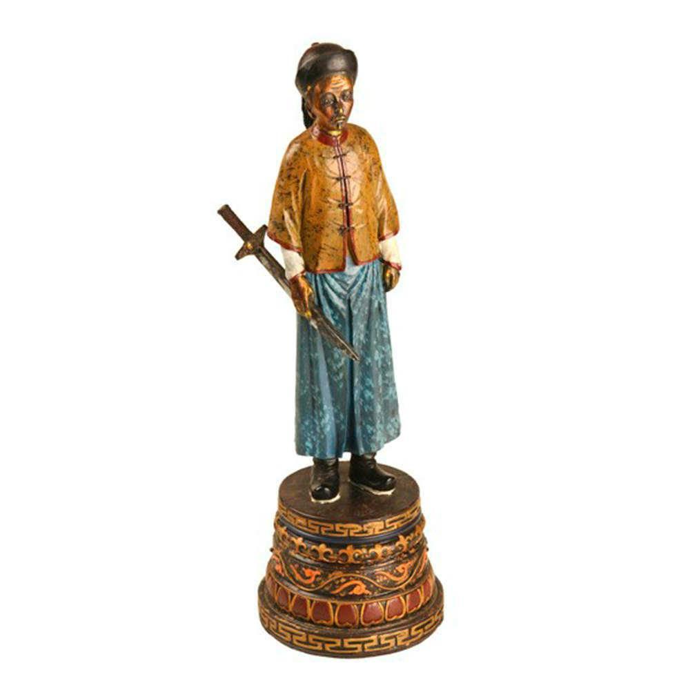 Estátua Dinastia Qing Espada em Resina - 37x16 cm