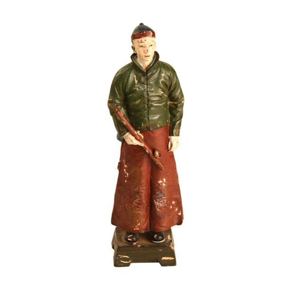 Estátua Dinastia Qing Verde/Vermelho em Resina - 23x16 cm