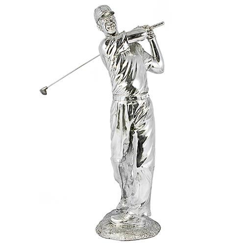 Estátua Golfista Prata Grande Fullway - 90x35x29cm